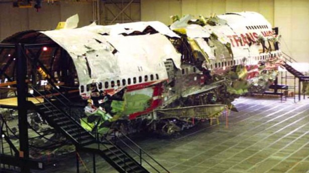 Reconstructed wreckage of TWA 800