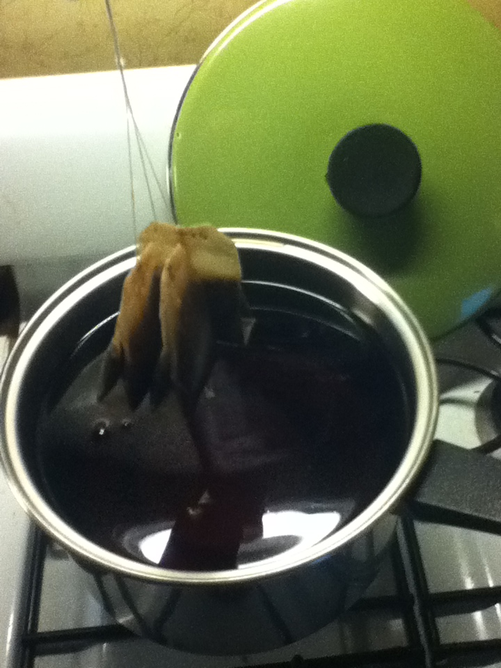 boiled water, 1 cup sugar, three tea bags